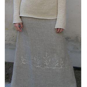 HV07SK004 Floral Embroidered Long Skirt HEMP VALLEY ®