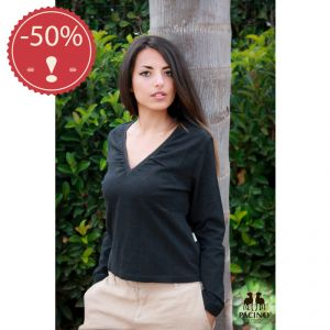 OUPTS2061 Long sleeve V-neck T-shirt Woman OUTLET PACINO ® (*)
