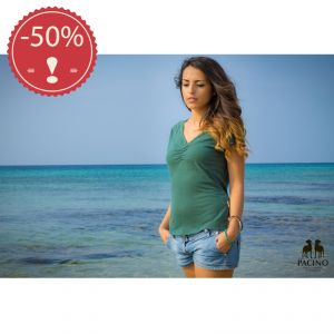 OUPFS932 T-shirt a manica corta collo a V in jersey Donna OUTLET PACINO ® (*)
