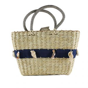 Handbag with shells Hemp, Straw and Cotton HANDMADE