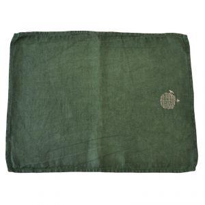 Tovaglia americana 100% canapa colore verde (tinto in capo) AMBLEKODI ®