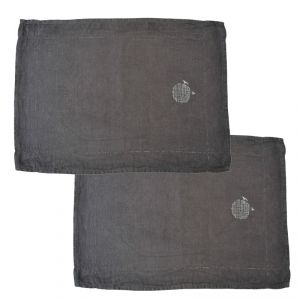 2 X Tovaglia americana 100% canapa colore grigio (tinto in capo) AMBLEKODI ®
