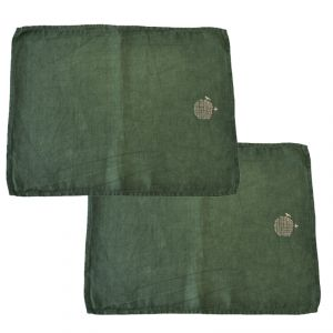 2 X Tovaglia americana 100% canapa colore verde (tinto in capo) AMBLEKODI ®
