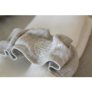 Portatovagliolo 100% canapa colore écru/gessato bianco (logo bianco) AMBLEKODI ®