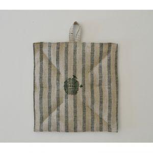 100% Hemp Pot holder with central buttonhole color écru/green pinstripe  AMBLEKODI ®