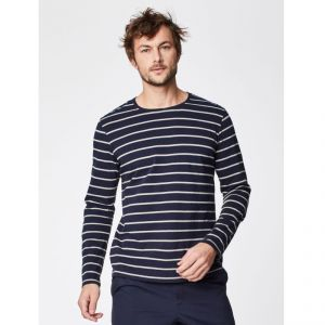 "T-18MWT3960 ""Dock"" Stripey Long Sleeve Hemp Tee Man THOUGHT ®"