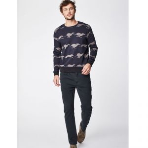 "T-18MWT3943 ""Whippet"" Print Organic Cotton Sweater Man THOUGHT ®"