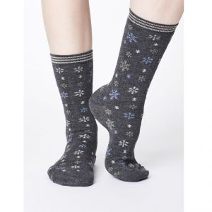 "T-18SPW343 ""Snowflake Christmas"" Bamboo Socks Woman THOUGHT ®"