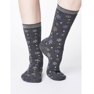 "T-18SPW343 ""Snowflake Christmas"" Bamboo Socks Woman THOUGHT ®"