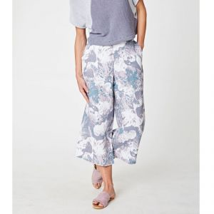 "T-18WSB3638 ""Oceanid"" Printed Hemp Wide Leg Culottes Woman THOUGHT ®"