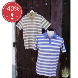 OUHV07TS976 Striped jersey Polo Man HEMP VALLEY ® OUTLET (*)