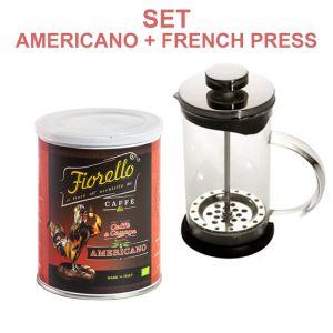 SET 1 French Press + 1 Caffe e Canapa FIORELLO Caffe ® Bio - Americano ground coffee & hemp 250g