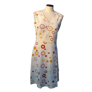 HV08FDR083P Sleeveless low-necked long pois Dress Woman HEMP VALLEY ®