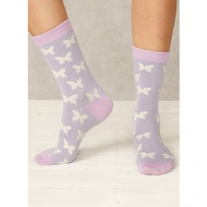 "BT17LS51 ""Butterfly"" patterned Socks Woman THOUGHT by BRAINTREE ®"